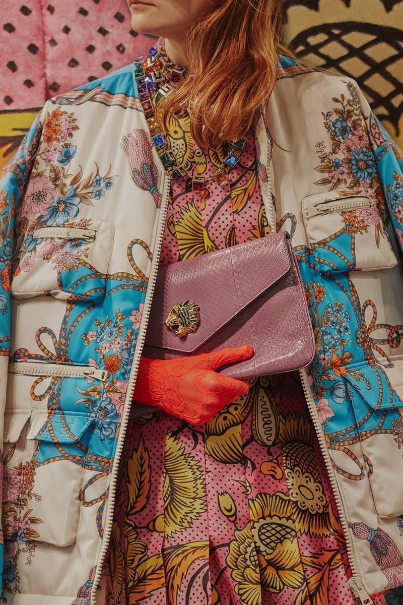 Gucci Cruise 2019 Runway Details Pink Clutch Orange Gloves