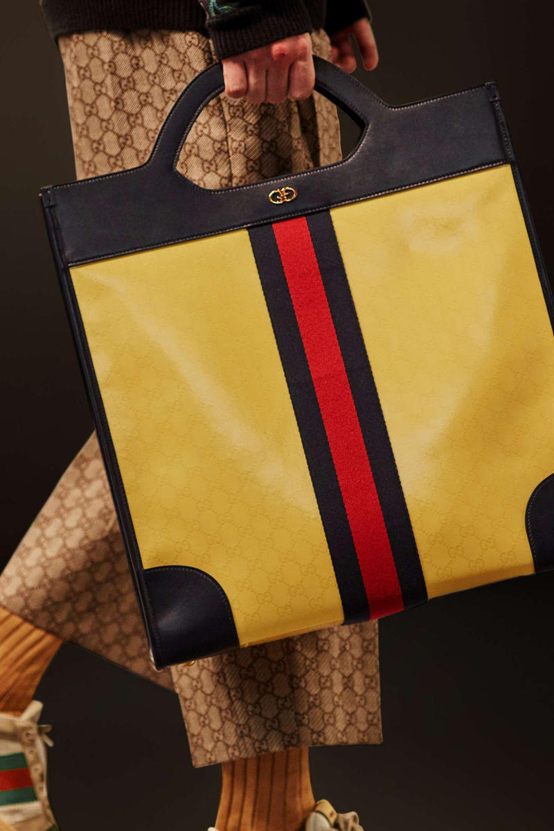 390f600d269 Gucci Cruise 2019 Runway Details Yellow Tote Bag GG Logo Print Pants  Sneakers