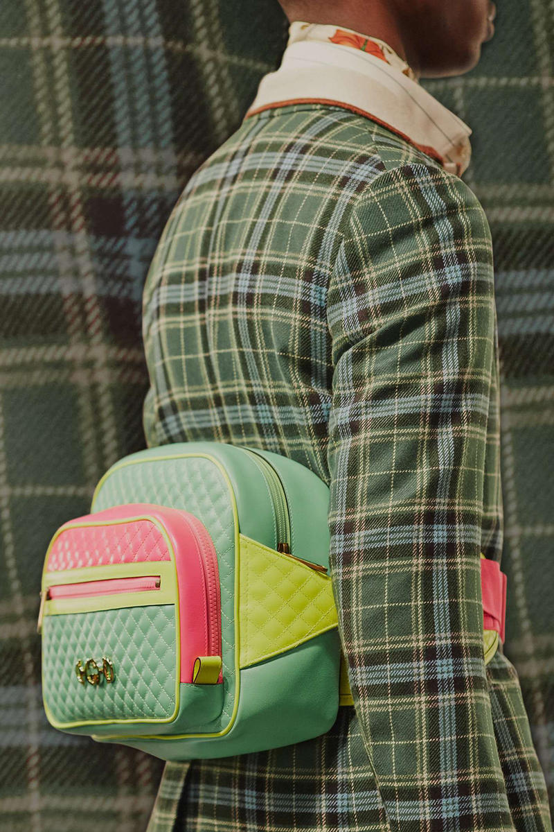 Gucci Cruise 2019 Runway Details Fanny Pack Neon Green Pink Plaid