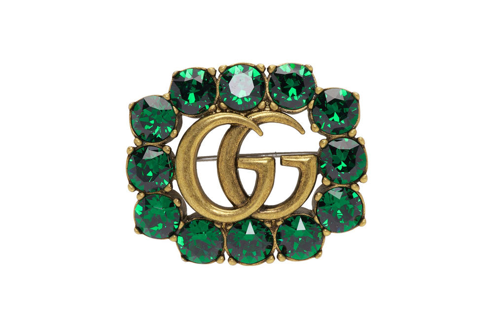 Gucci Crystal Marmont Brooch Green Red
