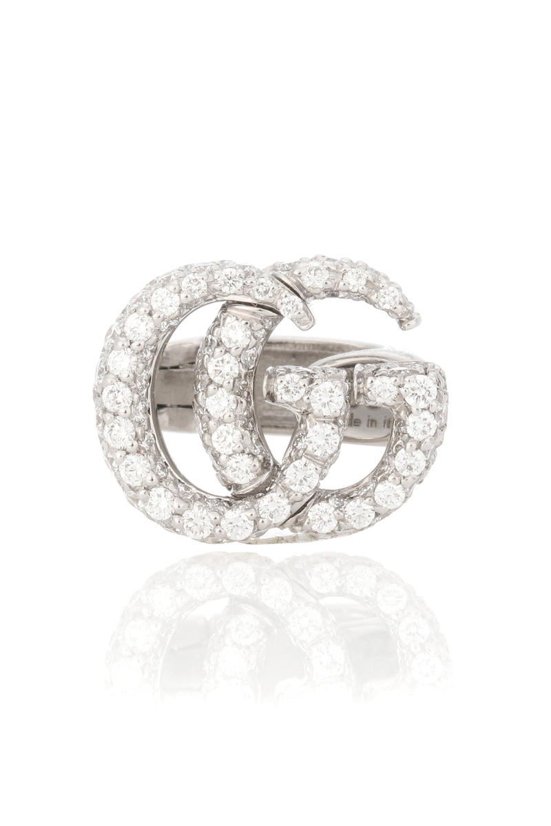 Gucci Double G 18kt Gold Diamond Ear Cuff Earring
