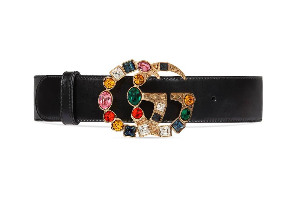 3913a7fb187 Gucci Double G Logo Rainbow Crystal Belt