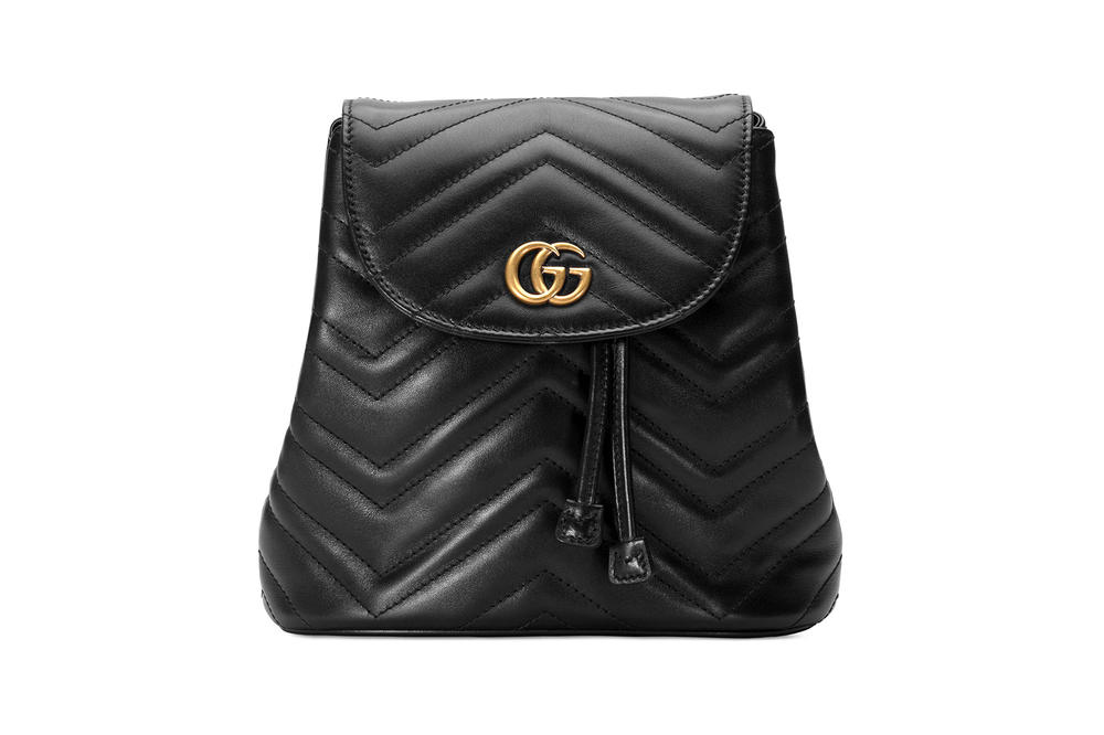Gucci GG Marmont Matelassé Backpack Black Quilted Chevron Designer Bag