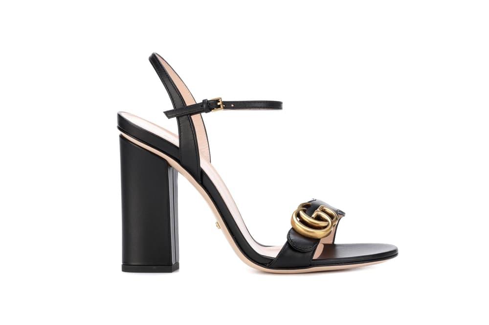 Gucci Black Leather Strap Heel Sandals Logo Gold Embellishment
