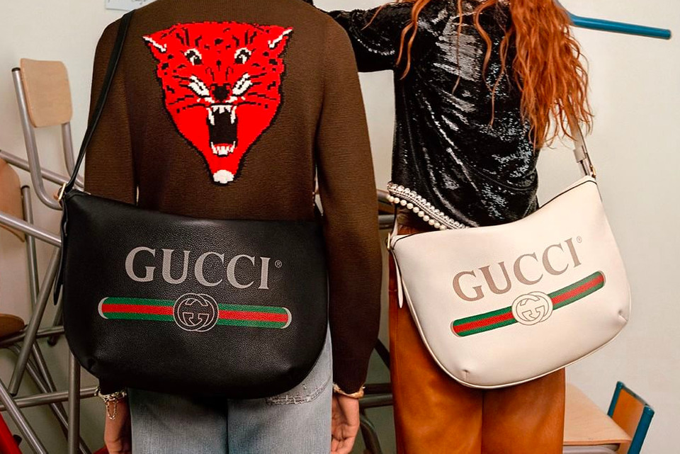 4c5413197bc5 Gucci Half-Moon Hobo Bag In White and Black | HYPEBAE