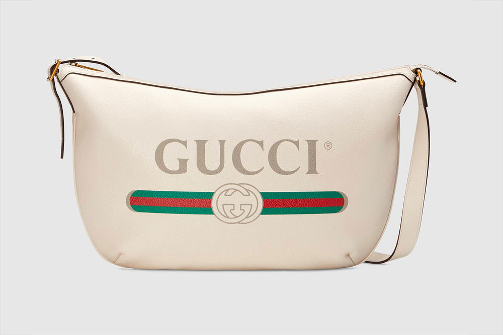 Gucci Half Moon Hobo Bag Pre Fall 2018 Vintage Logo White
