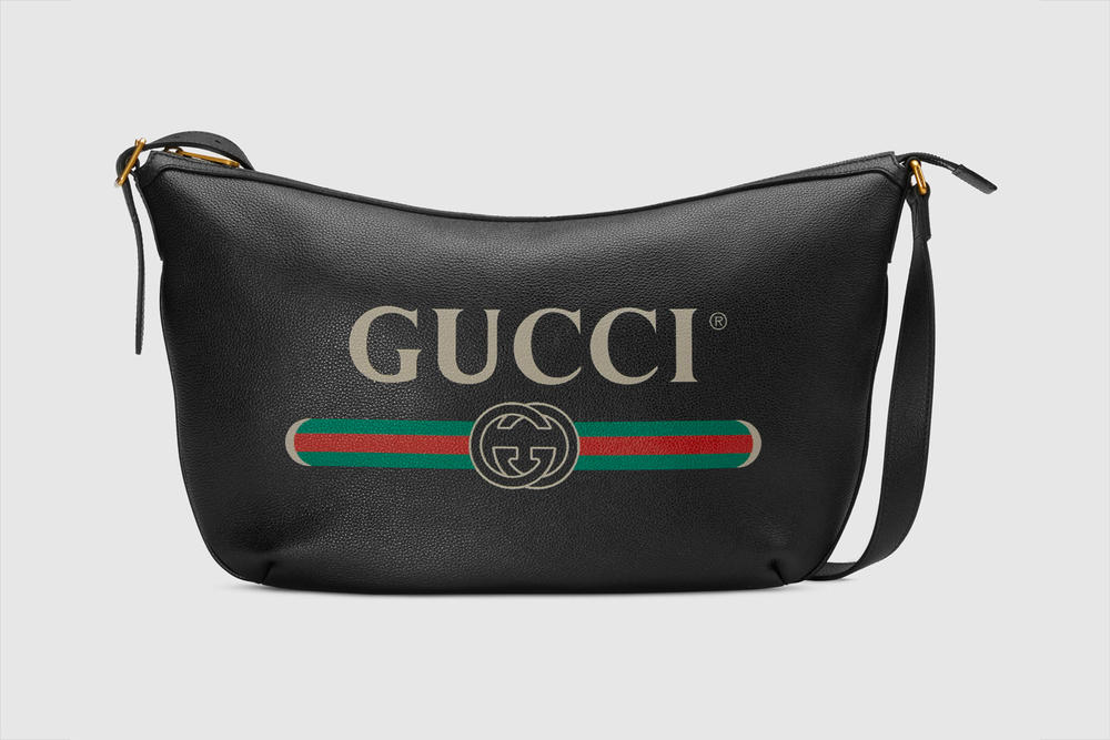 Gucci Half Moon Hobo Bag Pre Fall 2018 Vintage Logo Black