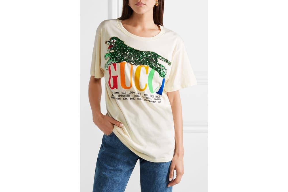 Gucci's Logo T-Shirt Gets a Rainbow Update Retro Print Sequin Tiger