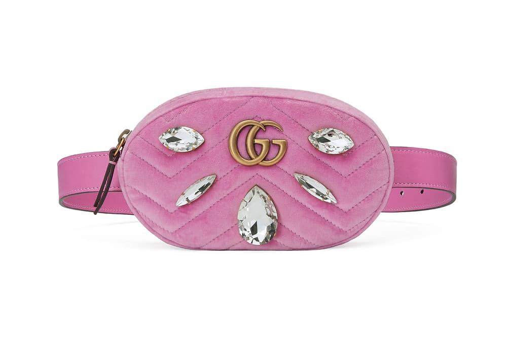 Gucci Marmont Belt Bag Pink Velvet Marquise Crystals