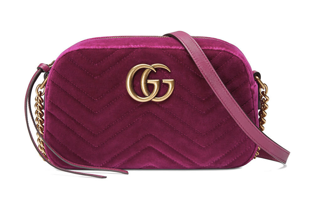 daf86bf3cc1c Gucci s Marmont Shoulder Bag Is Dreamy in Fuchsia Velvet. Soft to the touch.