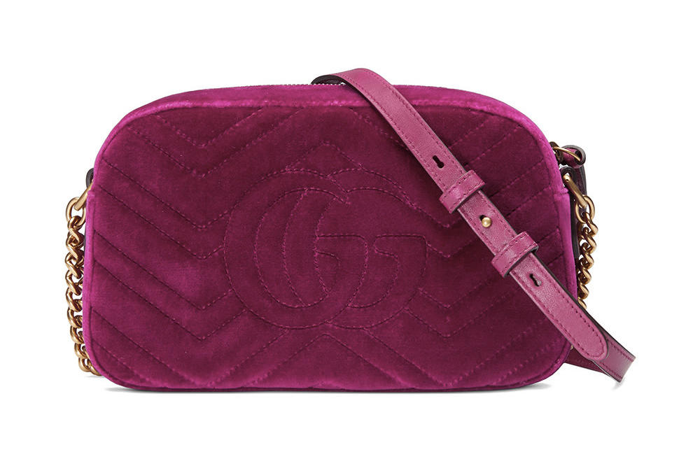 Where to Buy Gucci Fuchsia Velvet Marmont Shoulder Bag
