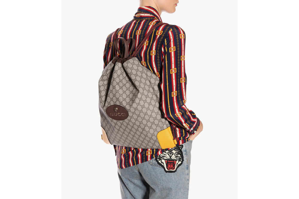 Buy Gucci's Drawstring Monogram Backpack Print Retro Tiger Summer Bag Pouch