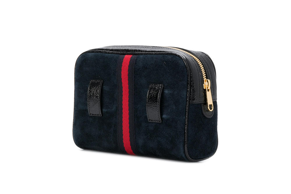 Gucci Ophidia Belt Bag in Red and Navy Designer Fanny Pack Suede
