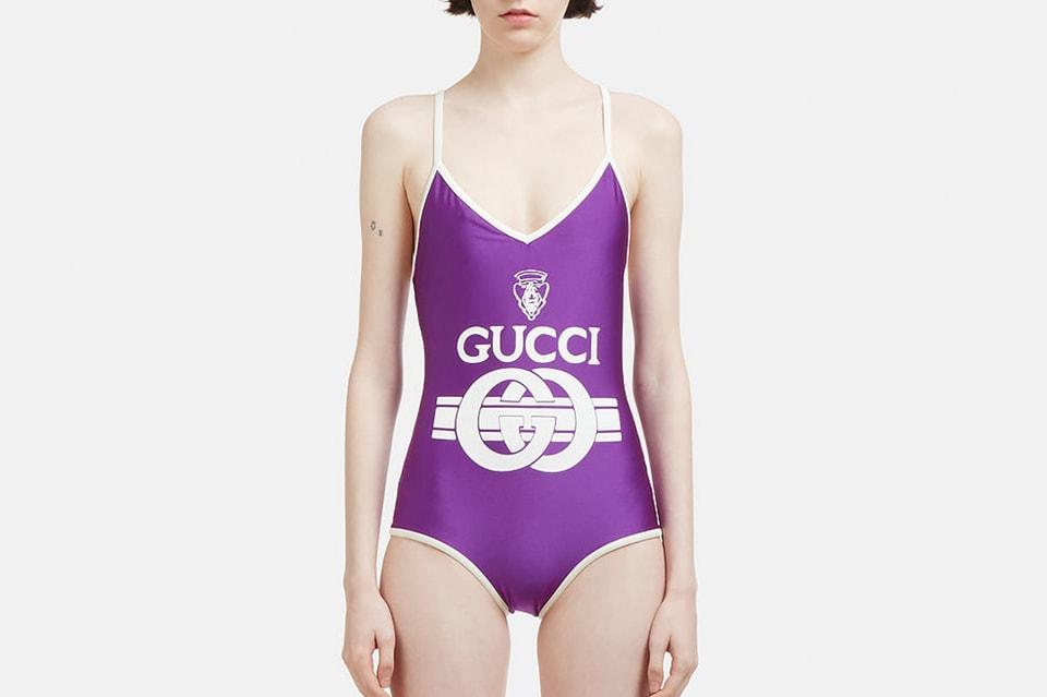 92e0d9126ee58 Gucci Releases Retro Logo Swimsuit in Purple