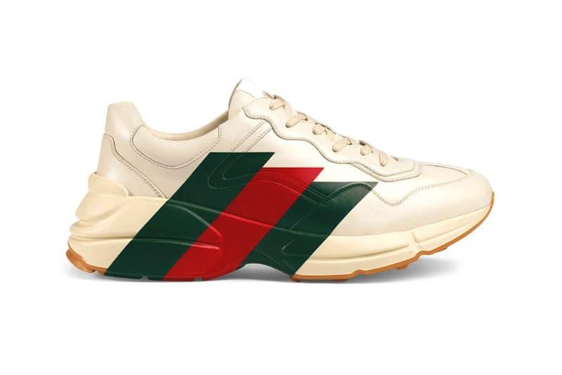 Gucci Rhyton Web Print Leather Sneaker White