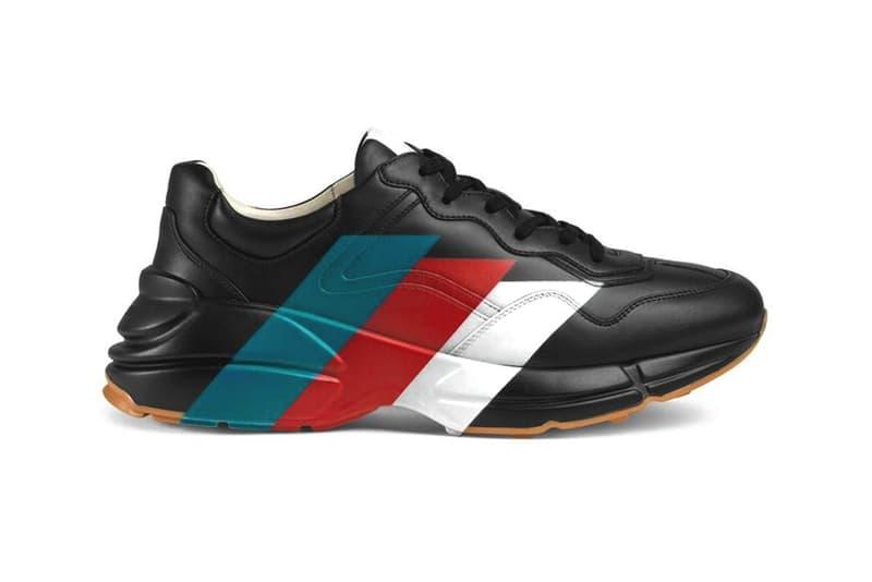 Gucci Rhyton Web Print Leather Sneaker Black