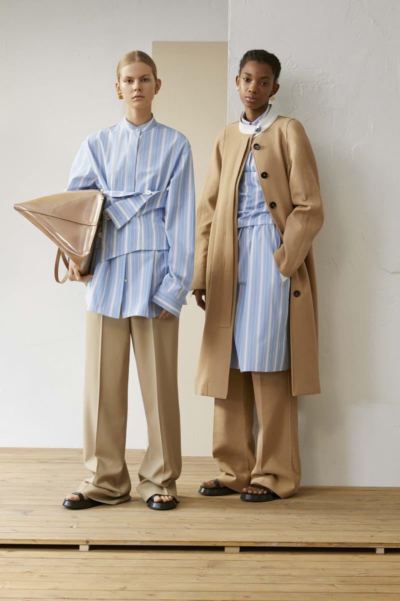 Jil Sander Resort 2019 Collection Lookbook Striped Shirt Pants Coat White Blue Khaki