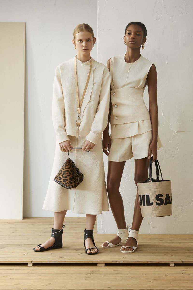 Jil Sander Resort 2019 Collection Lookbook Tops Skirts Handbags White Khaki Black