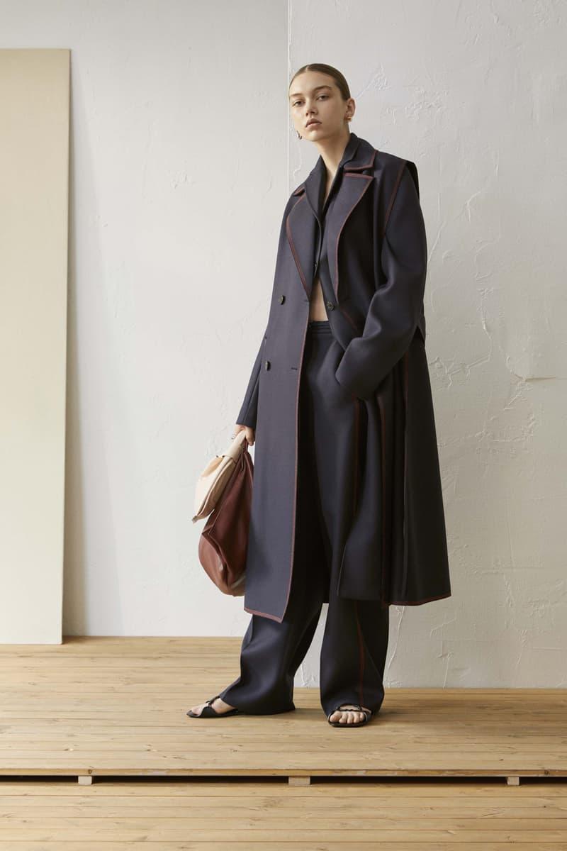 Jil Sander Resort 2019 Collection Lookbook Coat Leather Handbag Navy Brown