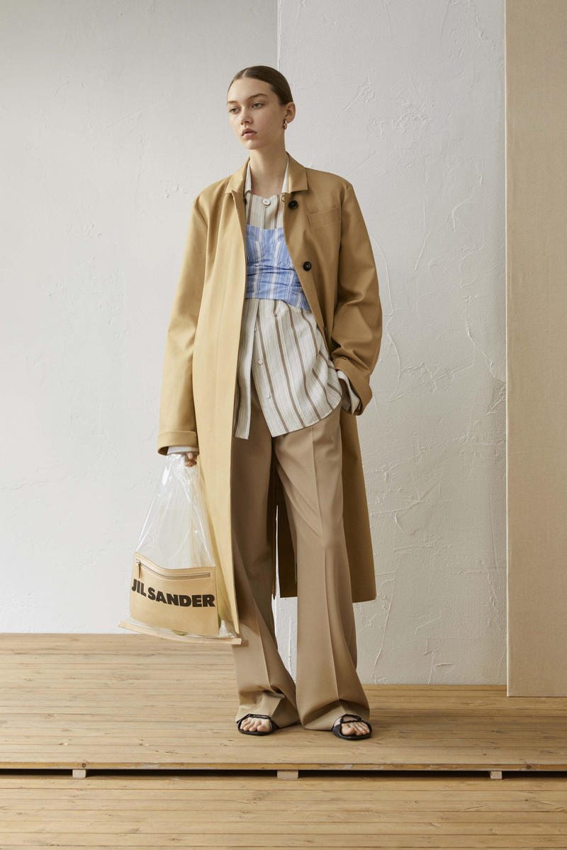 Jil Sander Resort 2019 Collection Lookbook Coat Striped Shirt Pants Khaki White Blue
