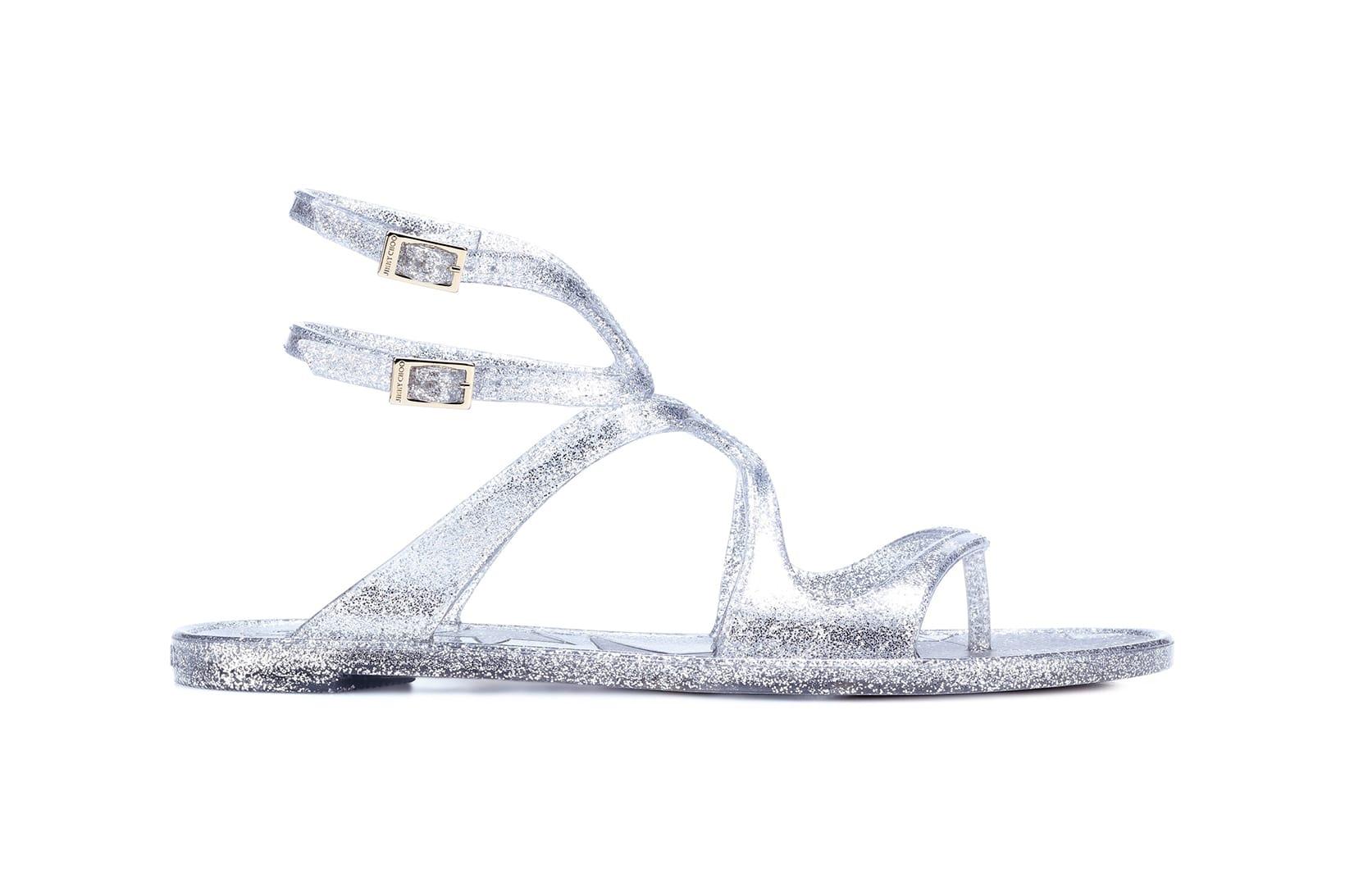 Jimmy Choo Silver Glitter Jelly Sandals