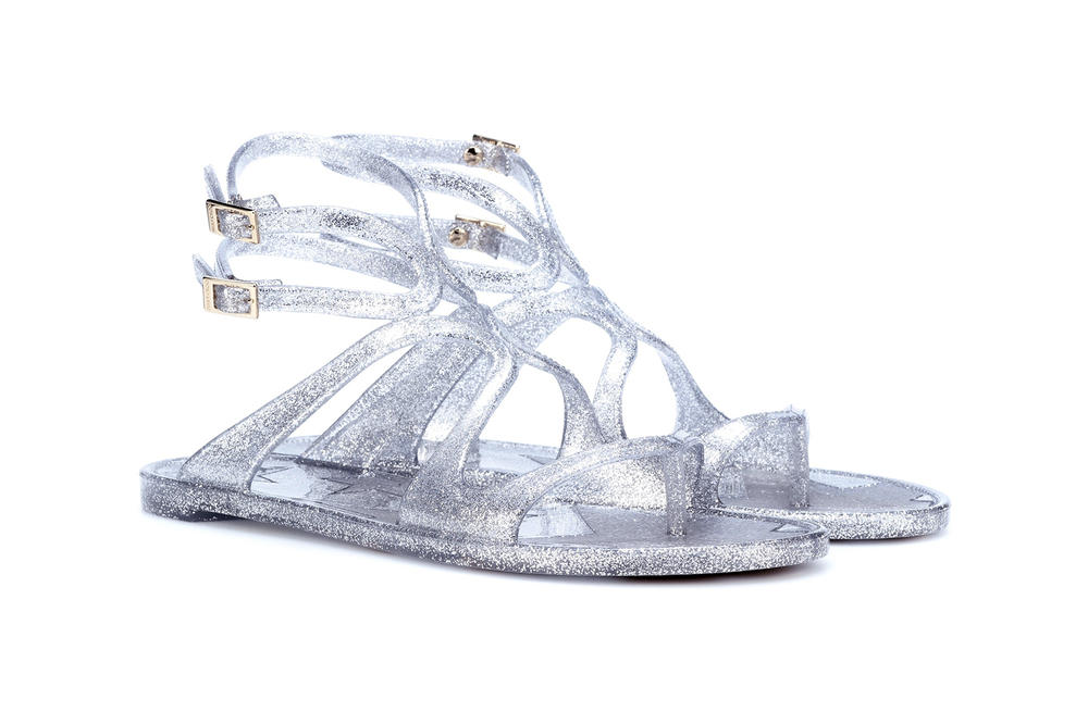 Jimmy Choo Silver Glitter '90s Jelly Sandals