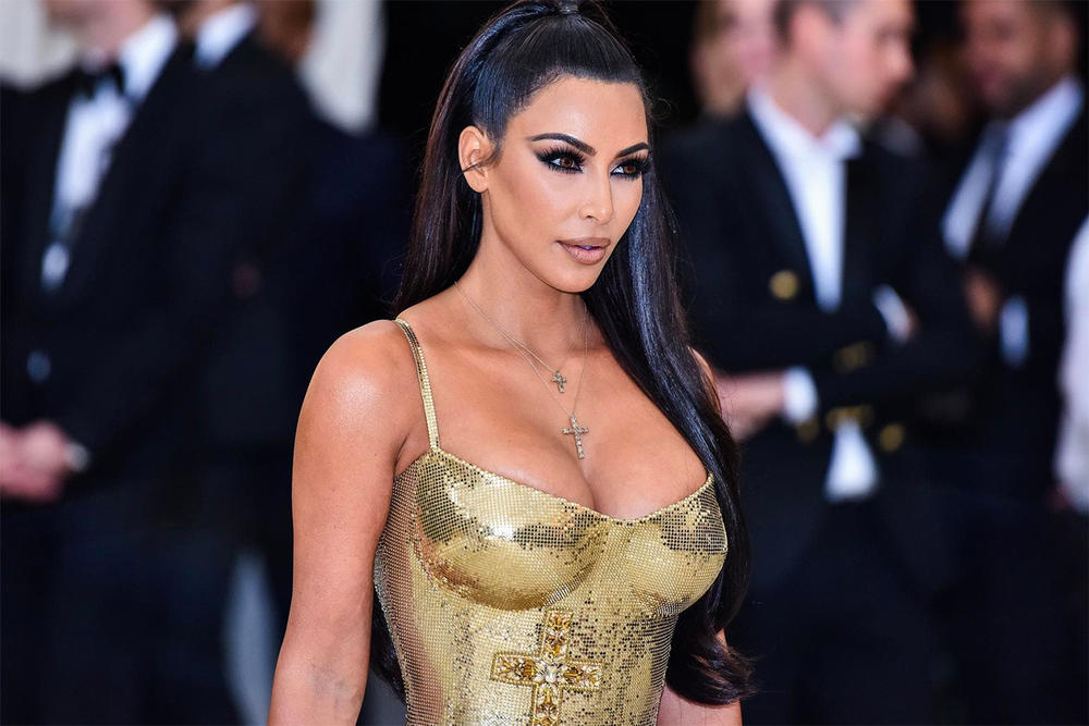 Kim Kardashian Met Gala 2018 Heavenly Bodies Gold Versace Dress Ponytail