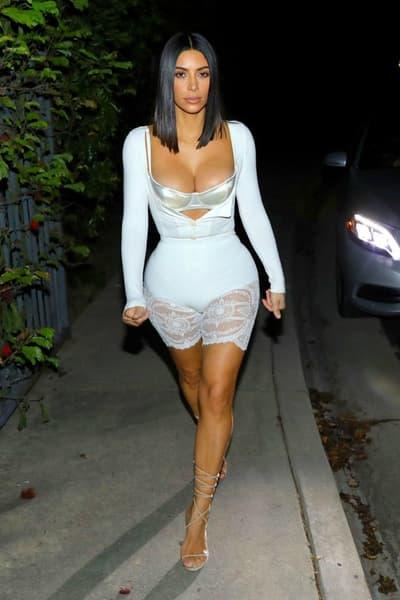 Kim Kardashian White Lingerie 2018