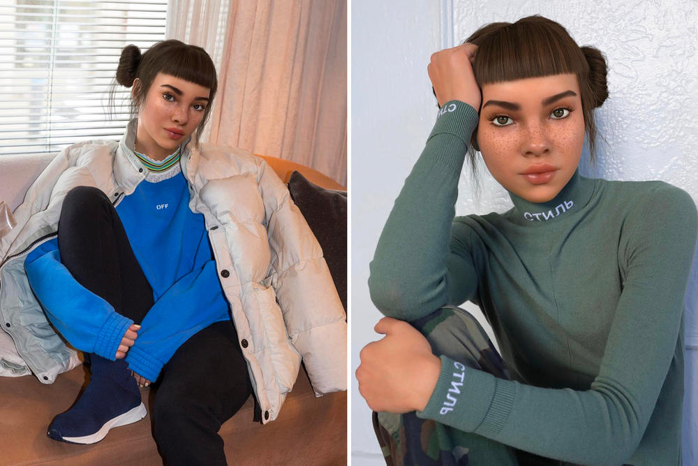 Lil Miquela Sousa Off-White Reebok Heron Preston Streetwear Virtual AI Influencer Digital Marketing Instagram Social Media