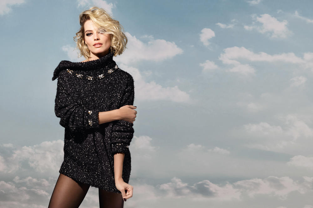 Margot Robbie Chanel Coco Neige Collection Campaign Sweater Black