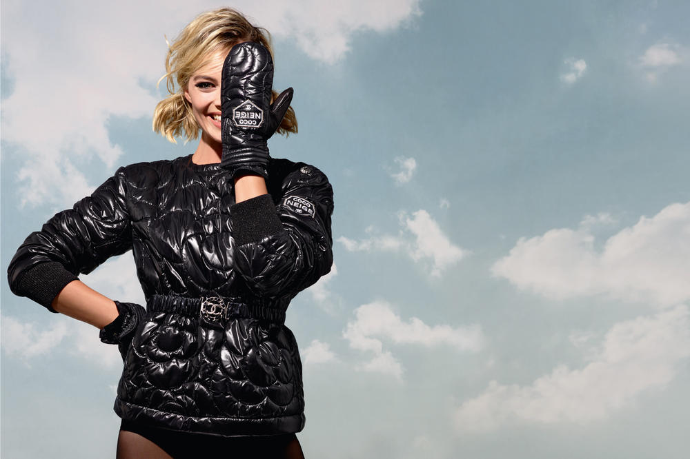 Margot Robbie Chanel Coco Neige Collection Campaign Jacket Gloves Black