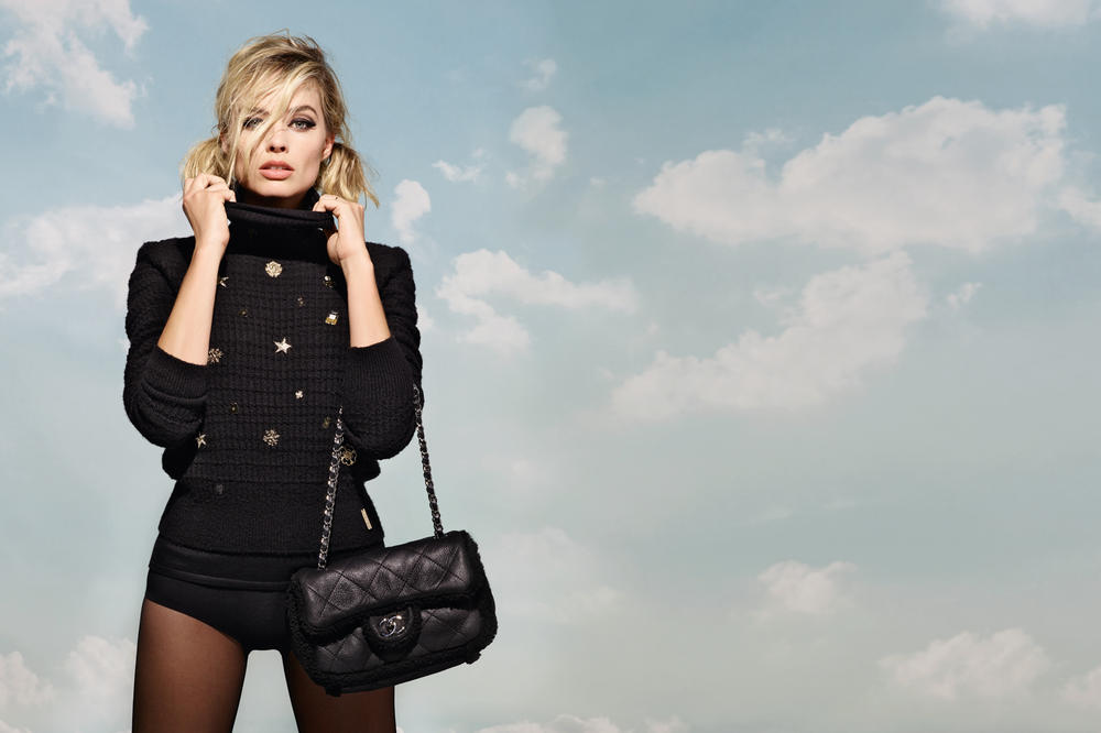 Margot Robbie Chanel Coco Neige Collection Campaign Jacket Handbag Black
