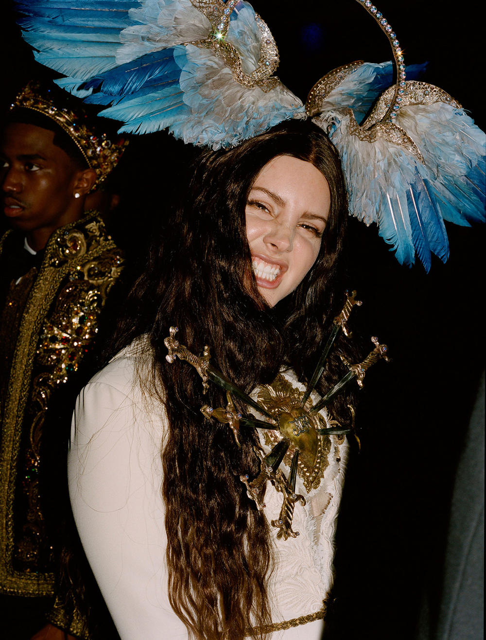 Met Gala 2018 Lana Del Rey Gucci Dress headpiece Candid