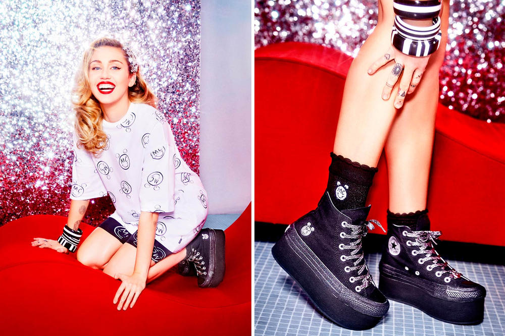 Miley Cyrus Converse Chuck Taylor All Star Platform Pink White Black  Lookbook 375decb35