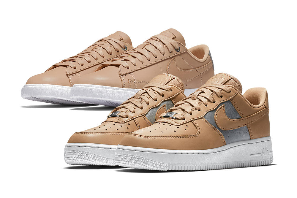 "Nike Air Force 1 and Blazer Low in ""Tan Silver"" Sneaker Silhouette"