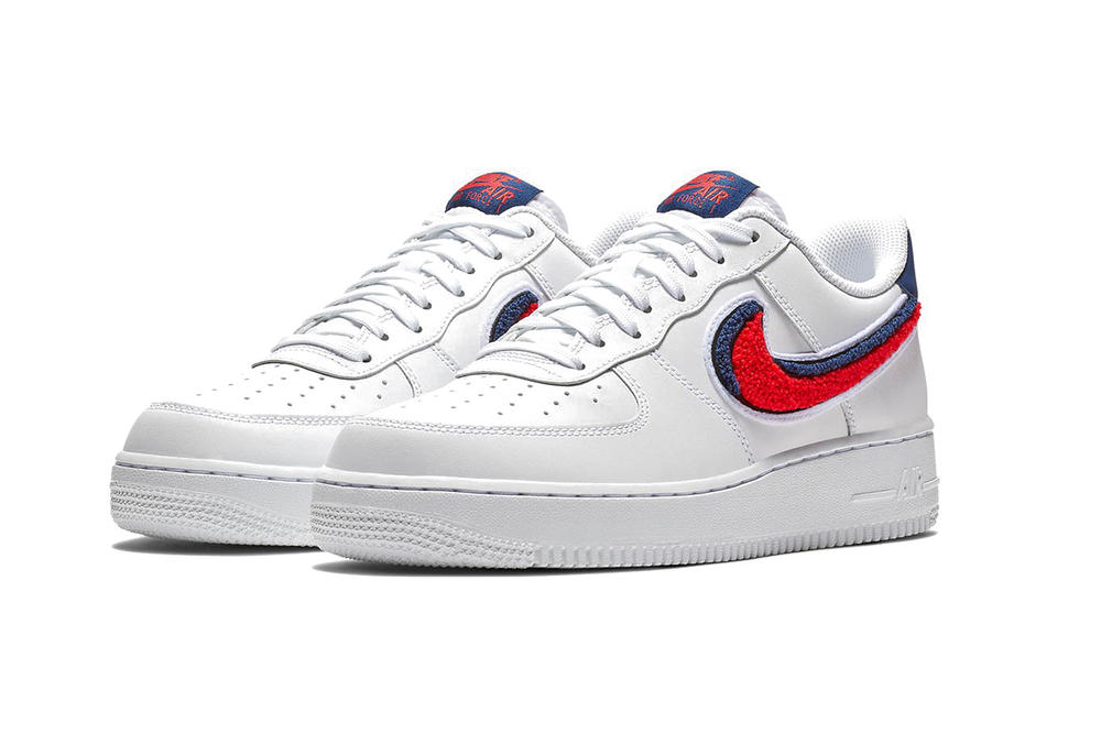 Nike 3D Chenille Swoosh Air Force 1 Low Red Blue White deddd020e
