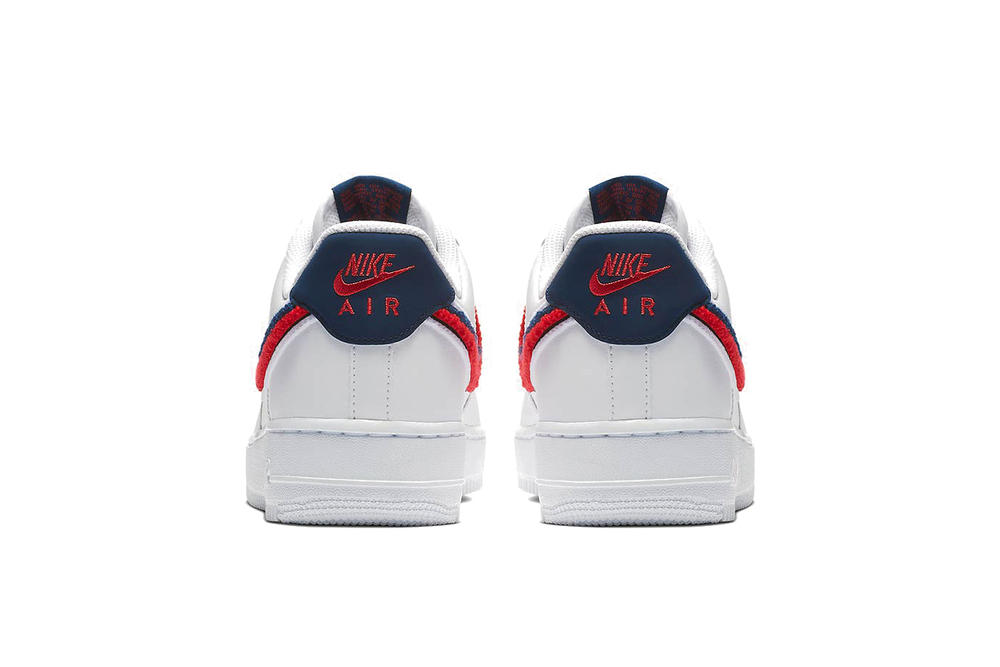 Nike 3D Chenille Swoosh Air Force 1 Low Red Blue White