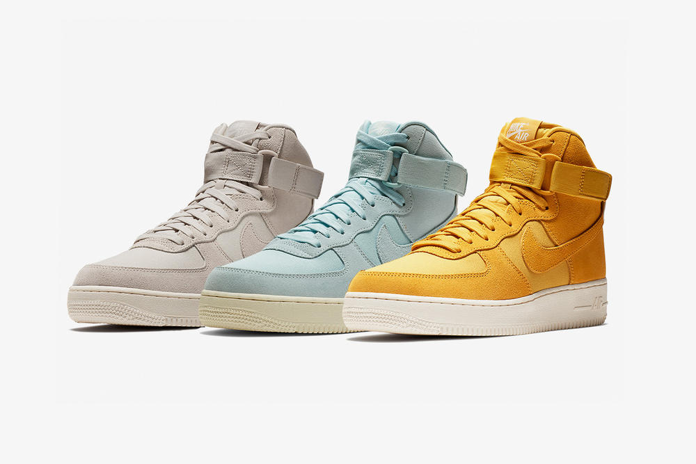 nike air force 1 hi high suede dusky pink powder blue mustard yellow