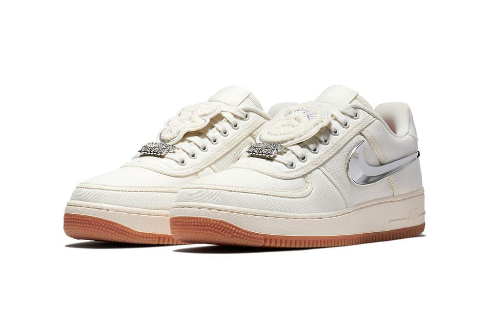 Nike Air Force 1 Low Sail Travis Scott Removable Swoosh Sneaker