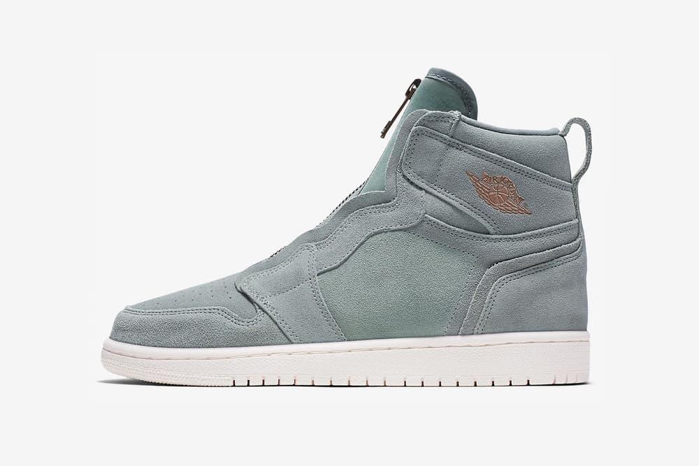 nike air jordan 1 high zip mica green suede side bronze wings logo
