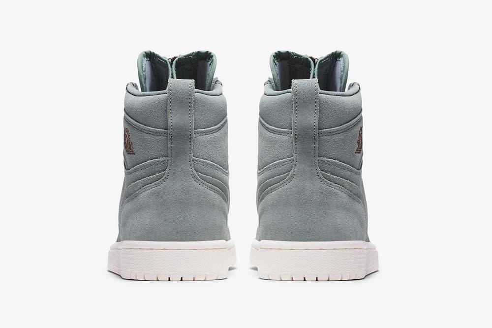 nike air jordan 1 high zip mica green suede heel back bronze wings