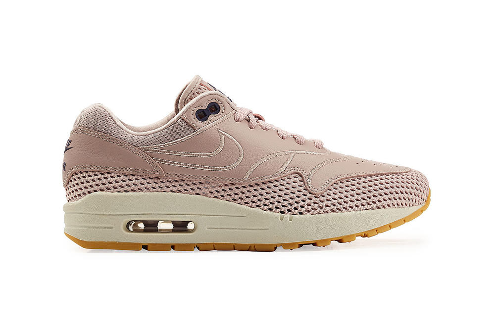 Nike Air Max 1 Dusky Pink White Leather Mesh Sporty Sneakers