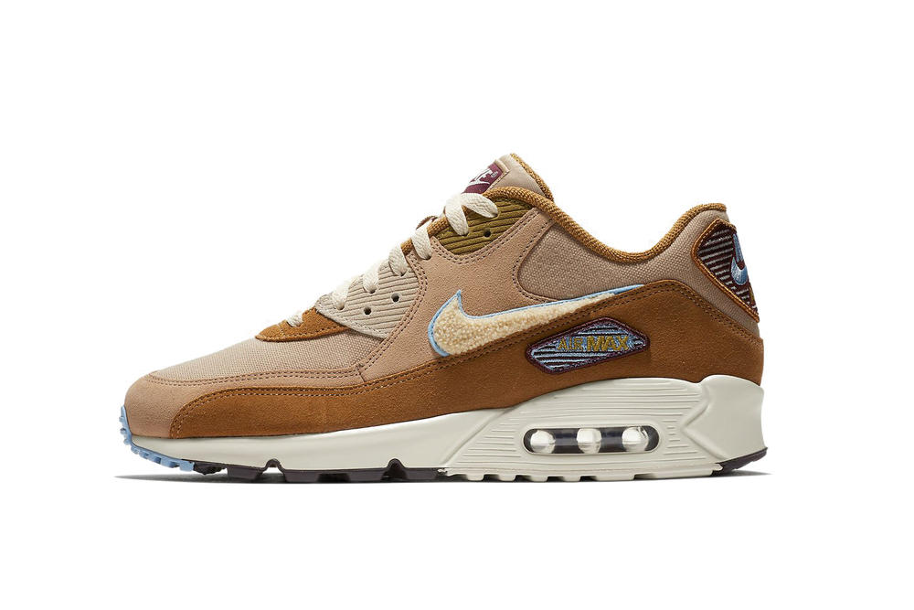 timeless design eb9eb b3362 Nike Air Max 90 Chenille Swoosh Brown Textured Sneaker Retro