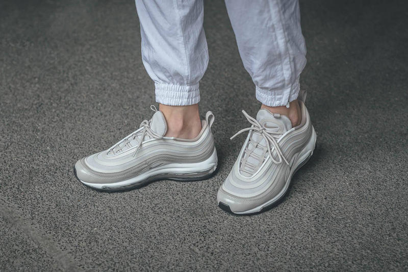 ae486a8363ad nike air max 97 ultra moon particle leather canvas mesh on foot concrete  cement white track