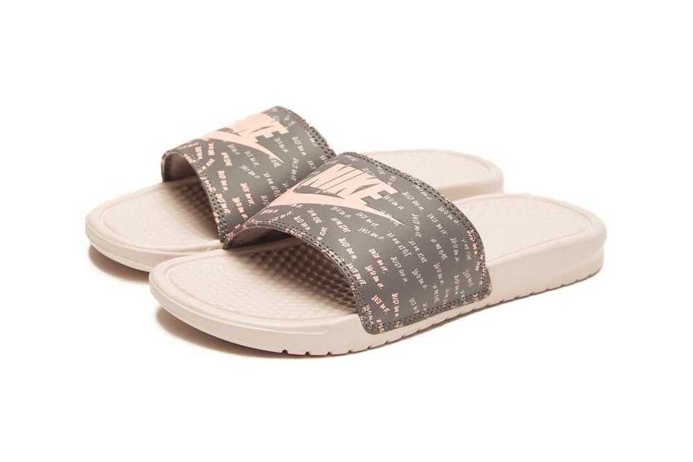 Nike Pink and Grey Benassi Just Do It Logo Slides