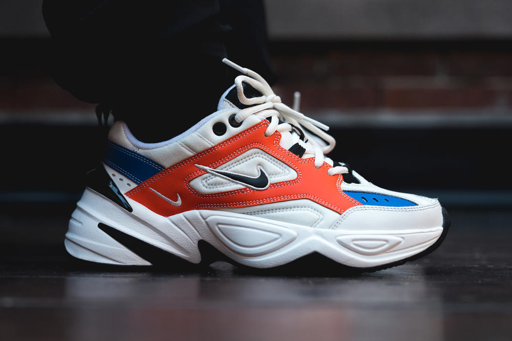 John Elliott Nike M2K Tekno Orange Blue On Foot