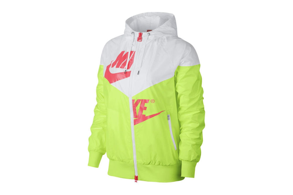 81c58bea7ee5 Nike Women s Retro Windrunner Jacket Neon Volt Hot Punch White