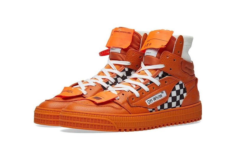 off-white virgil abloh 3.0 off-court sneakers orange white laces checkerboard
