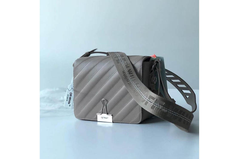 Off-White Quilted Binder Clip Bag Gray