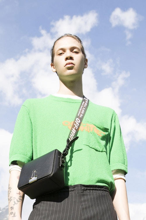 Off-White Men's Resort 2019 Impressionism Collection T-Shirt Binder Clip Bag Green Black